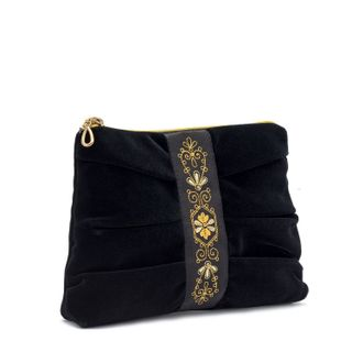 Velvet cosmetic bag, black, gold, black with gold embroidery