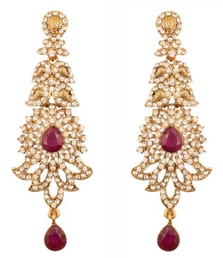 Touchstone Indian Bollywood Rhinestone/faux purple amethyst bridal designer jewelry earrings for women in antique gold tone