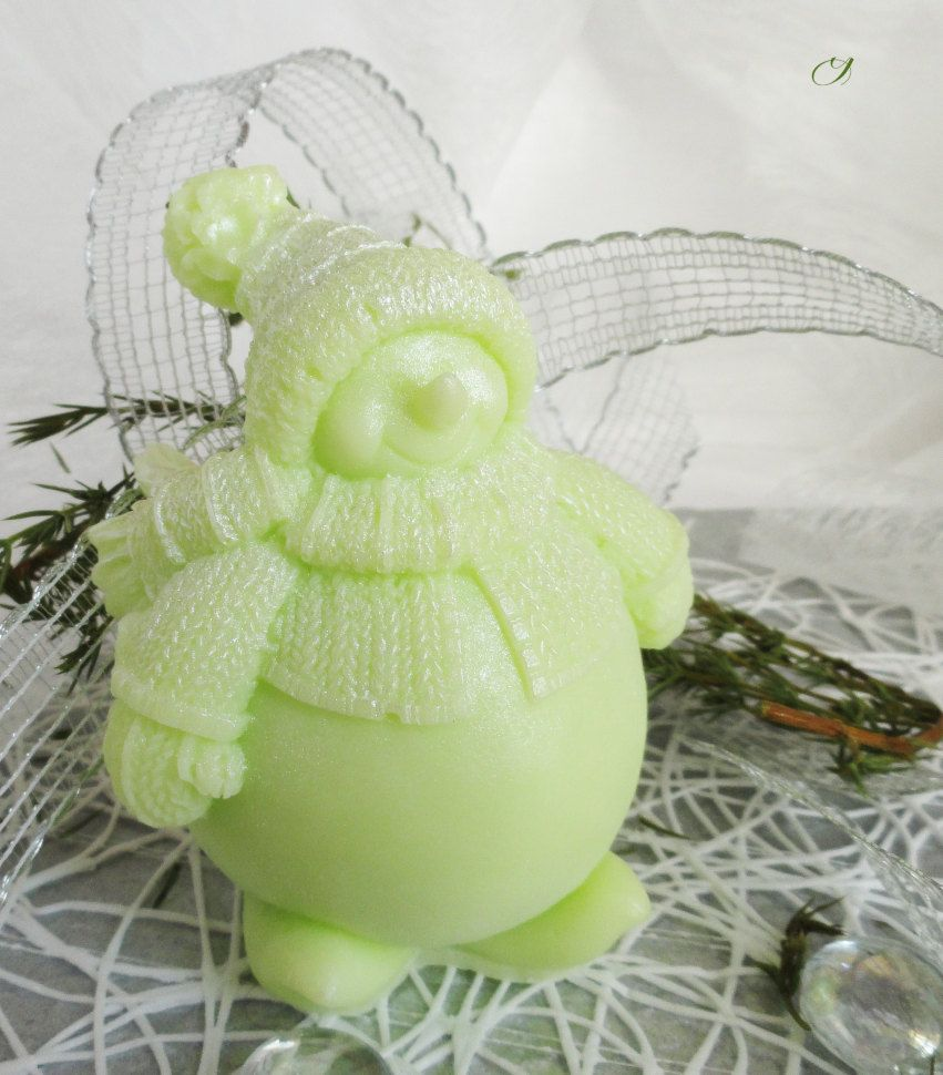 Snowman green gift homemade olive soap