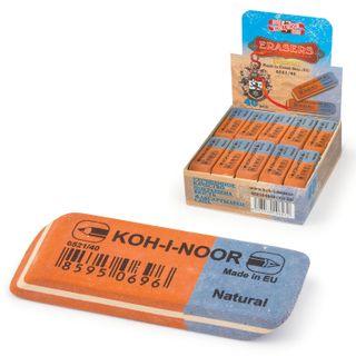 Eraser KOH-I-NOOR, 57x19,5x8 mm, red-blue, rectangular, beveled edge, natural rubber, 6521/40