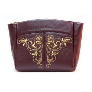 "Leather cosmetic bag ""Sonata"" Burgundy with gold embroidery"
