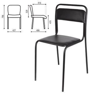 Ascona visitor chair, black frame, black leather substitute