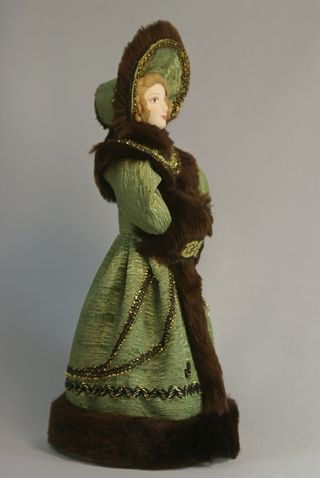 Doll gift porcelain. Lady in winter costume. 2nd quarter of the 19th century. Russia