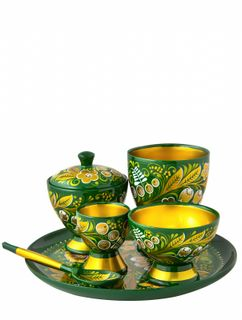 Khokhloma painting / A set of dishes for children, 6 items