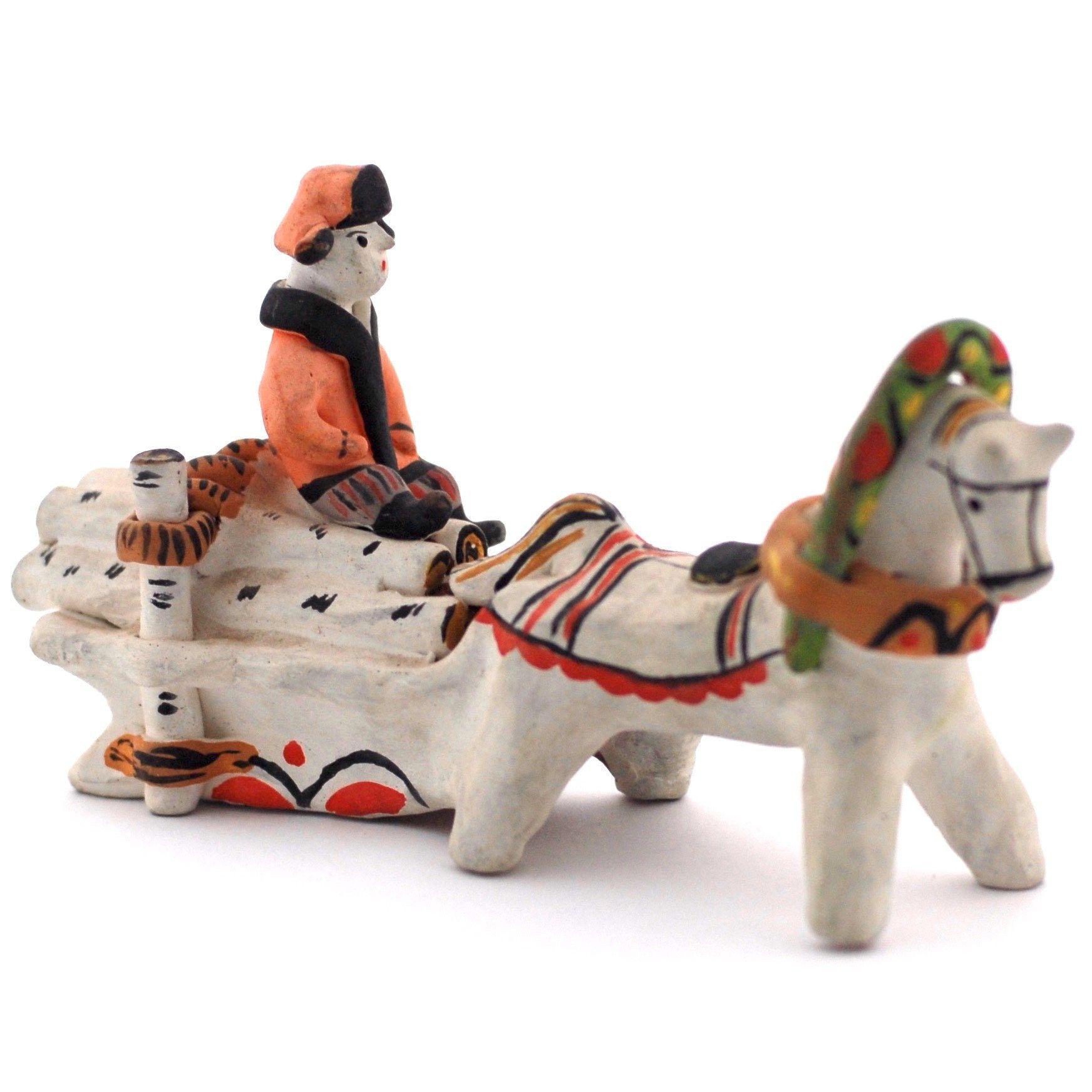 Kargopol clay toy On wood-sledge
