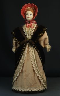 Doll gift porcelain. Suit for walking. The middle of the 19th century. Petersburg. The European fashion.