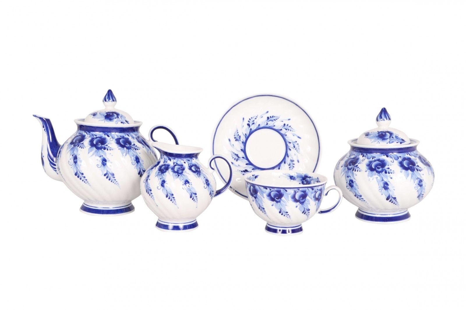 Dulevo porcelain / Tea set 15 pcs. Blue Rose