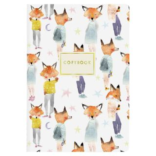 "Notebook EURO A5 40 sheets BRUNO VISCONTI stitching, cage, Soft Touch, foil, beige paper 70 g / m2, ""FOXES"""