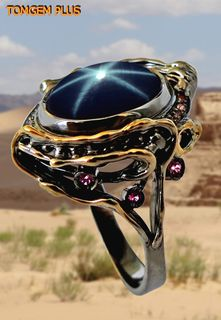 Silver 925 sapphire ring with black rhodium and gilding