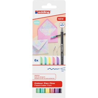 Edding / Colored marker pen set, water-based, round nib, 1 mm, 6 colors 6 colors