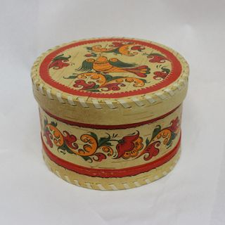 "Box of birch bark ""Boretskaya painting"" round 10 cm"