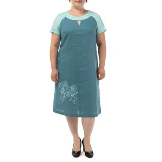 Dress womens Gloria blue silk with embroidery