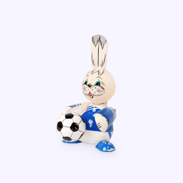Bogorodskaya toy / Wooden souvenir 'Bunny football player', lathe