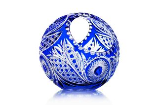 "Crystal vase-basket ""Ball"" medium blue"
