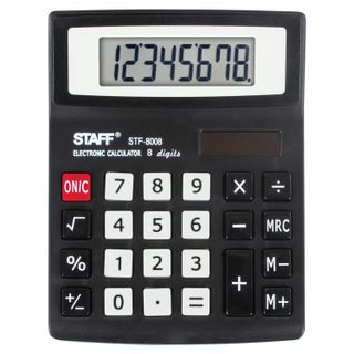Desktop calculator STAFF STF-8008, COMPACT (113x87 mm), 8 digits, dual power supply, blister