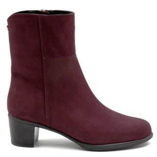Demi ankle boots of leather, Burgundy, orthopedic shoes,