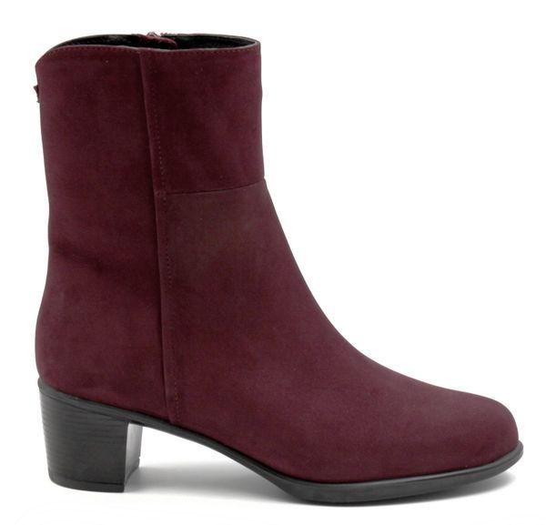 Ortomoda / Demi-season ankle boots made of natural nubuck, burgundy, orthopedic women's shoes,