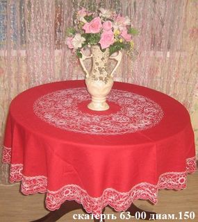 Karelian round tablecloth patterns red