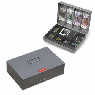 Box for money, valuables, documents, stamps, 80x195x290 mm, combination lock, dark gray, BRAUBERG