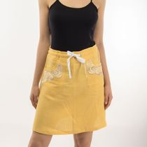 Skirt women's 'city' in yellow with silk embroidery
