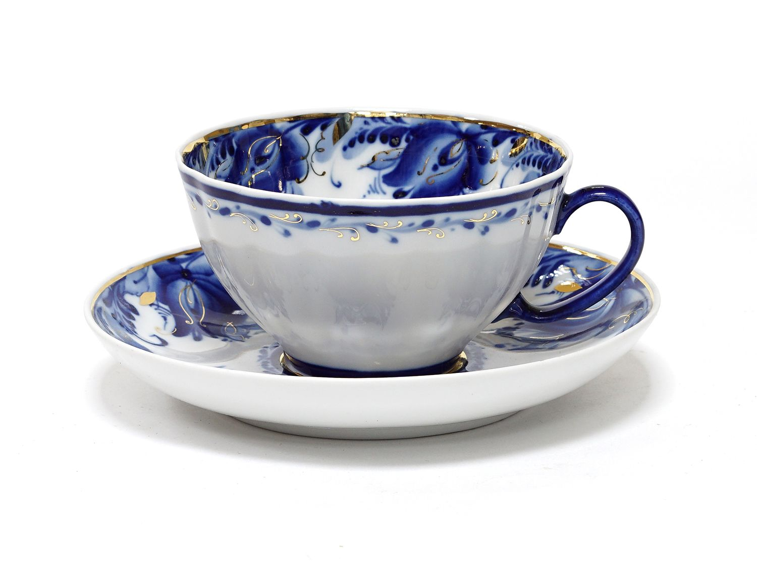 Dulevo porcelain / Tea cup and saucer set, 12 pcs., 275 ml White swan Blue tulips Gold