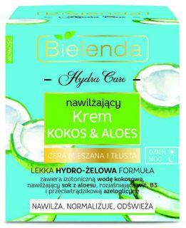 Moisturizing face cream Coconut and Aloe for mixed and oily skin HYDRA CARE BIELENDA, BIELENDA, 50 ml