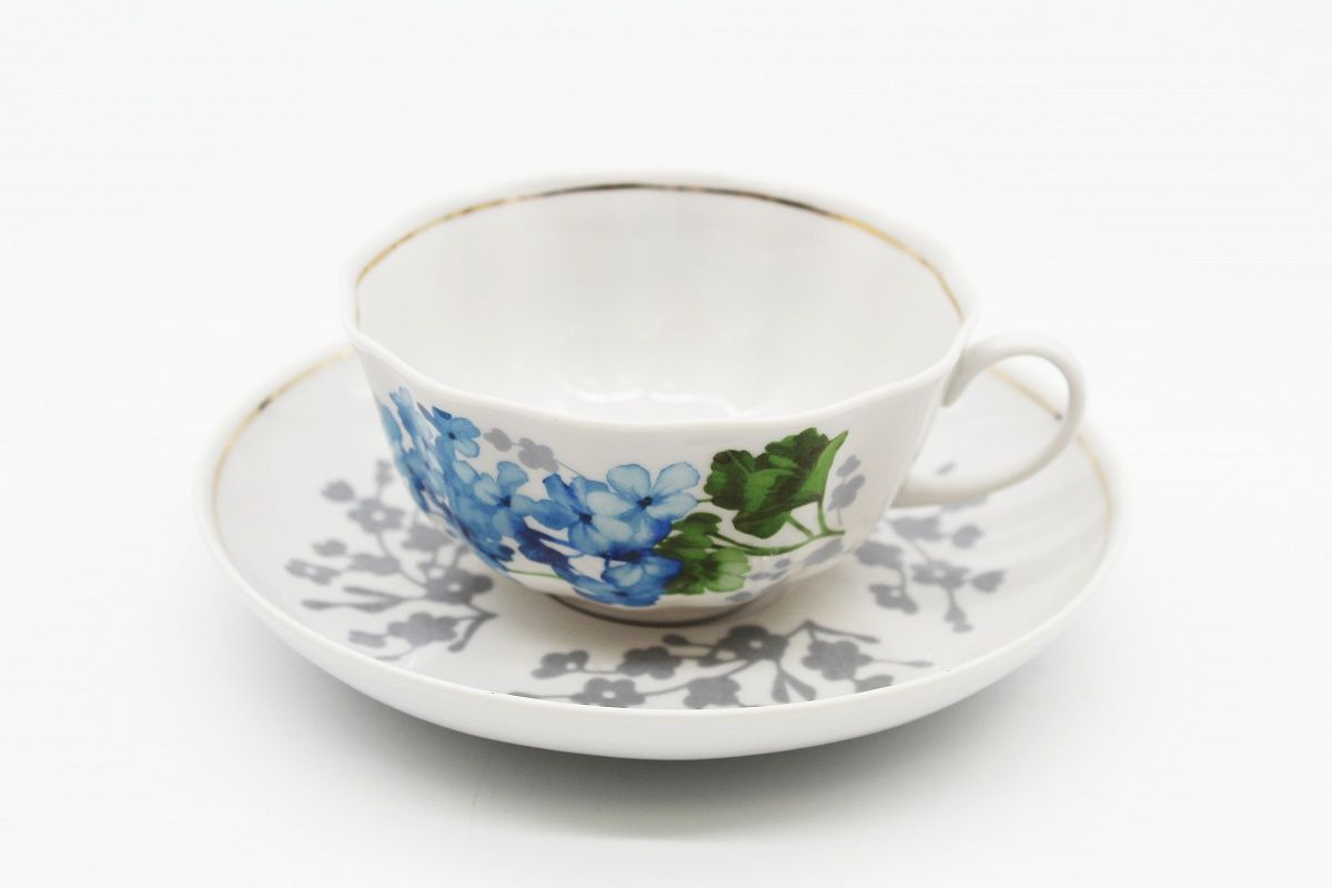 Dulevo porcelain / Tea cup and saucer set, 12 pcs., 220 ml Tulip Blue Geranium
