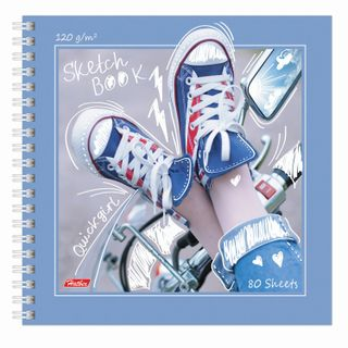 """Sketchbook, white paper 120 g / m2, 170x170 mm, 80 sheets, comb, """"Gym shoes"""""""