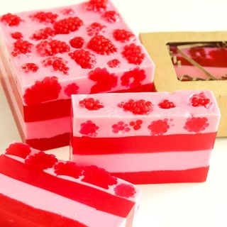 Raspberry Mousse - handmade solid gel soap for bath and shower
