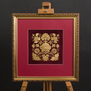 "Panel hand embroidery ""Golden bouquet"""