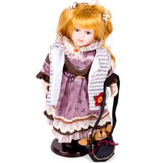 Porcelain doll in purple dress