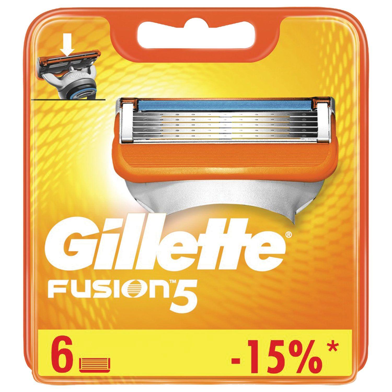 Replacement shaving cassettes 6 pcs. GILLETTE Fusion, for men