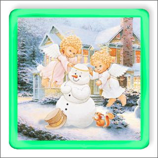 Angels and snowman. Magnetic glowing souvenir.
