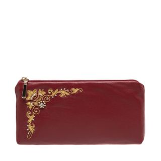 "Leather eyeglass case ""Glow"" Burgundy with gold embroidery"