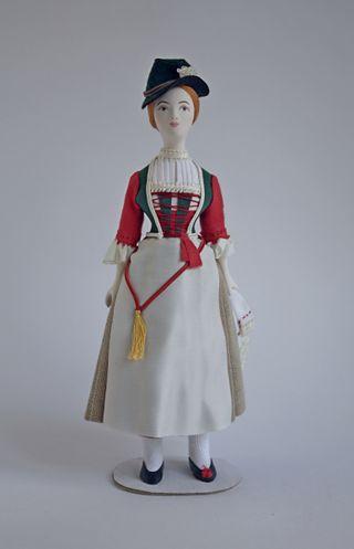 Doll gift. Women's festive costume. 19th century. Austria
