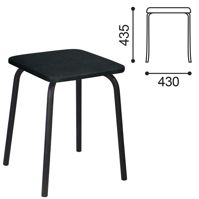 STOOL RS01-03, black frame, black leather