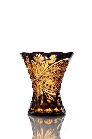 """Crystal vase for flowers """"Imperial"""" small amber-violet"""