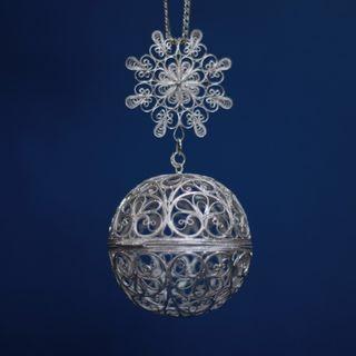 "Souvenir ""small Ball"" silvering, Kazakovo Filigree"