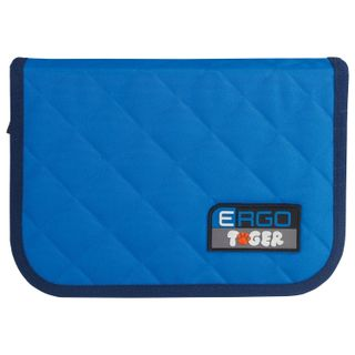 Pencil case TIGER FAMILY, with filling, 1 compartment, 2 folding straps, 31 object, blue-blue, 20х14х4 cm