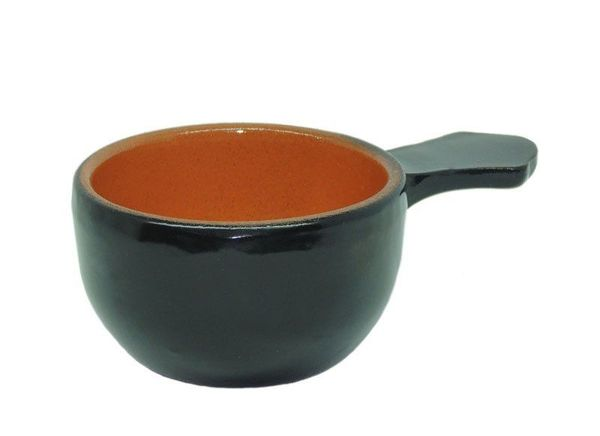 Vyatka ceramics / Set of 6 cocottes, with a capacity of 0.1 l. (jet)