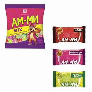 "MALVIK / Candy-caramel ""Am-mi"", candy, mini, assorted tutti-frutti / bubble-gum / cola, 180 g, bag"