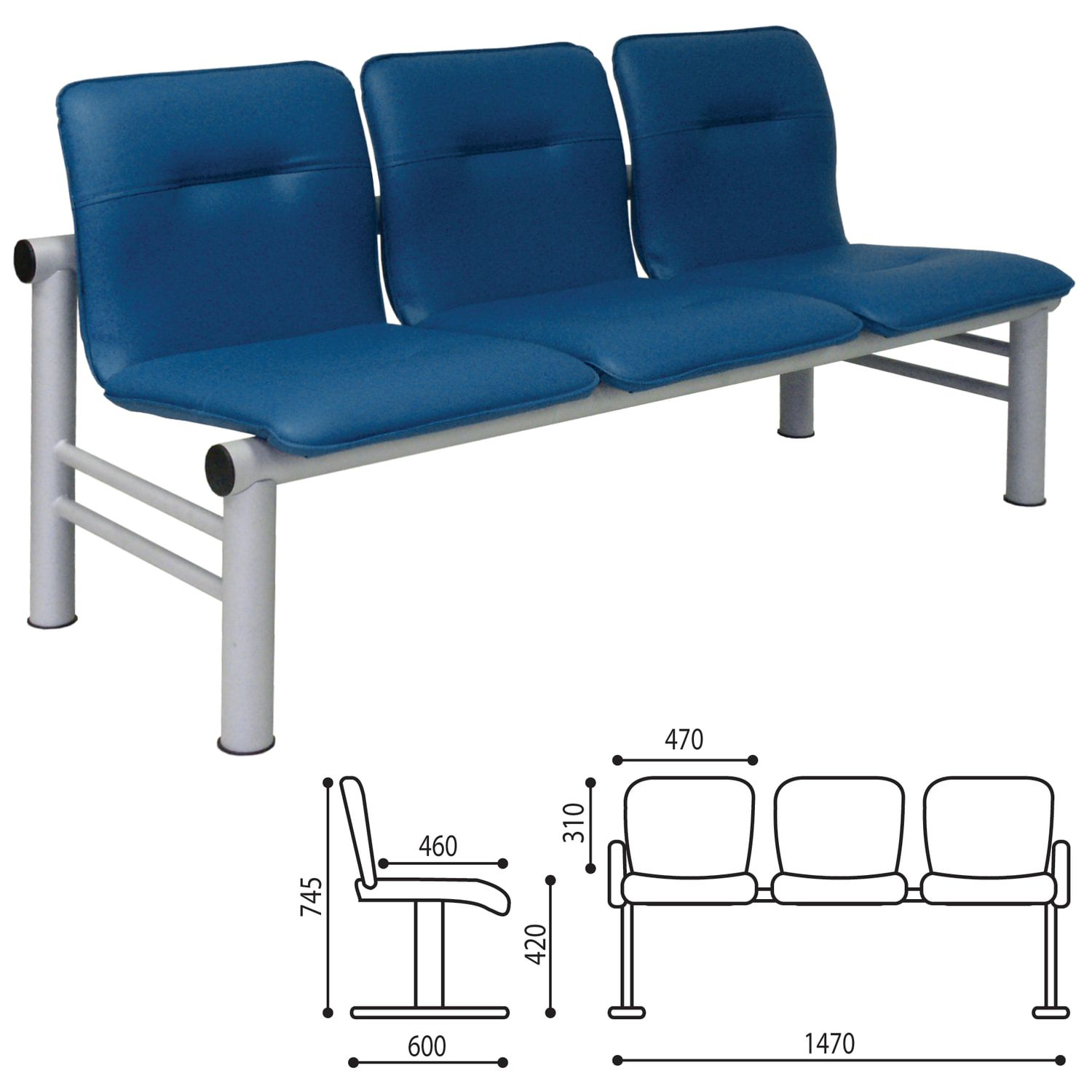 "Three-section visitor armchair ""Troy"", 745x1470x600 mm, light frame, blue leatherette"