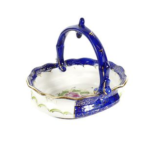 The candy bowl Idyll overglaze painting, Gzhel Porcelain factory