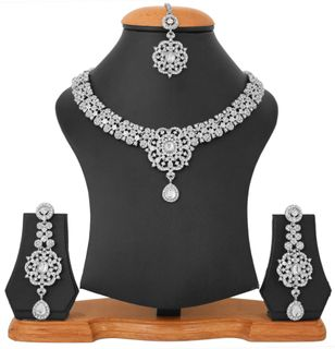 Touchstone White Plated Pretty Indian Bollywood White Rhinestones Bridal Jewelry Necklace Set For Women