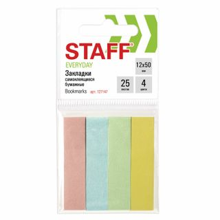 STAFF sticky bookmarks, PASTEL paper, 50х12 mm, 4 colors x 25 sheets, Euro slot