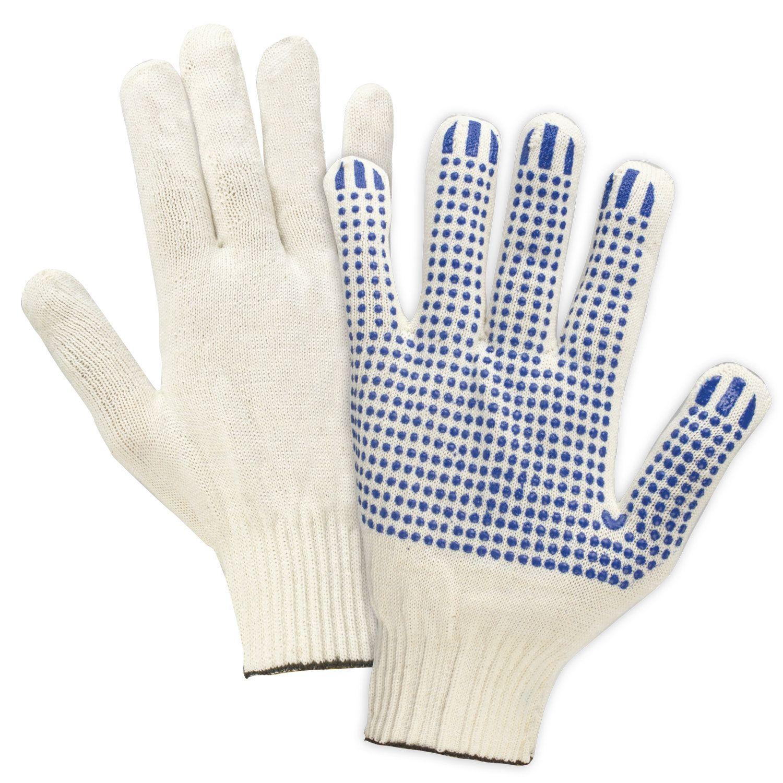 LIMA / Cotton gloves PROFI, SET 5 PAIRS, 13 class, 36-38 g, 66 tex, PVC point, WHITE