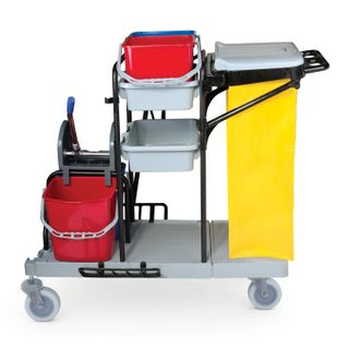 BRABIX / Trolley cleaning buckets 2x20 l, 2x11 l, mechanical wringing, bag holder, bag, 2 pallets