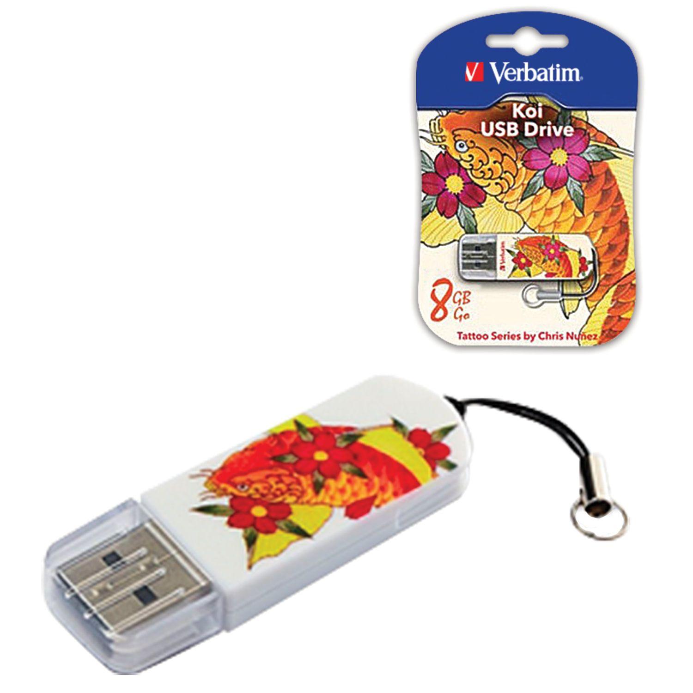 VERBATIM / Flash Drive 8 GB, Mini Tattoo Edition KOI FISH, USB 2.0, white with pattern
