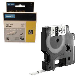DYMO Rhino Label Printer Cartridge 9mm x 1.5m Heat Shrink Tube Black Font White Tube
