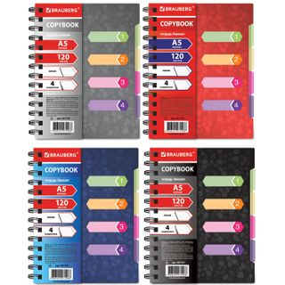 Notebook 120 sheets, A5, 170x215 mm, BRAUBERG, line, comb, plastic cover, 4 divider,